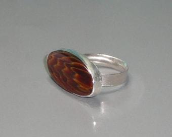 Petrified Wood Cabochon Fine Silver Bezel Ring