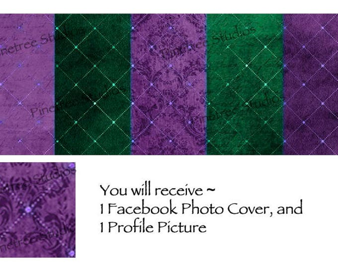Green and Purple Lattice ~ Facebook Blank Cover Photo and Profile Picture
