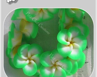 4 EXOTIC PLUMERIA polymer clay Green 20mm flower beads * F107