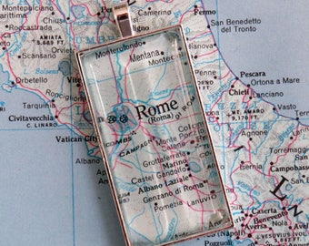 Rome, Italy Pendant Made with Vintage 1964 Atlas