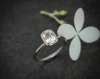 14k PD White Sapphire Cushion, White Gold Ring, Diamond Alternative, Conflict Free, Cushion Cut Solitaire, Size 6