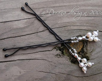 FORGET PARIS - myBouquet Beaded Floral Design - Pearl and Sterling Silver Hair Pin Pair - Handmade by Dorana