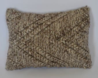 """Wool Knit """"V"""" Pattern Lumbar Pillow in Heathered Brown"""
