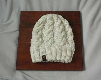 White Cable Knit Beanie Hat Handmade