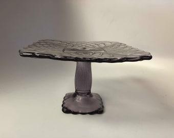 L.E. Smith Pattern Glass Trellis Pedestal Amethyst Cake Stand