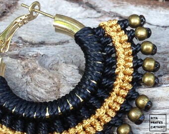 Hippie Chic Statement Macrame Hoops with black and golden silk
