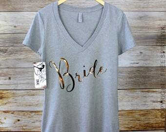 Bride T-Shirt. Gold Foil Bride Shirt. Bridal Shower Gift. Bride Shirt. Bride Tee. Bride Top. Mrs Shirt. Mrs Tee. Bachelorette Party