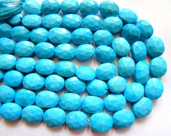 Turquoise Faceted Ovals, Turquoise Oval Beads