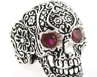 Memorial Day SALE Sterling Silver 925 Biker Skull Ring Floral Design Red CZ Made in USA
