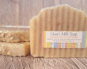 Unscented Goat Milk Bar Soap with Ground Oatmeal, Goatsmilk Soap, Oatmeal Goat Milk Soap, Exfoliating Soap