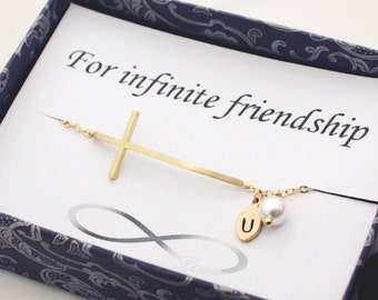 Sideways cross bracelet, Initial bracelet, with infinity card, Bridesmaid gift, best friend, friendship