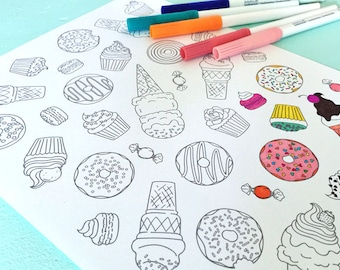 Printable SWEETS Coloring Page- Digital File- Instant Download donuts, ice cream cone, macaroon, candy, cupcake