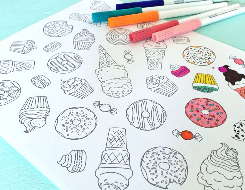 Printable SWEETS Coloring Page Digital File Instant Download