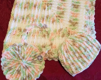Handmade, Crochet Baby Set, Blanket, hat and bib, shower gift