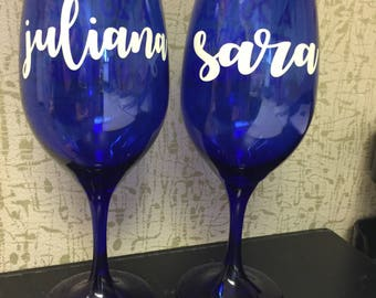 Custom BFF wine glasses (Set of 2)