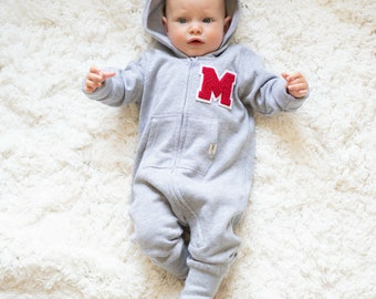 Personalized Custom Baby Varsity Fleece Onesie Grey Red Letter