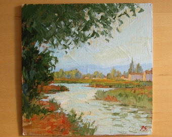 "Original painting, oil, impressionist, landscape, water, tree, scenic, 6""x6"", Sessa"