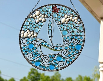 Large Stained Glass Panel, Beach Decor, Garden Art, Wall Art, Home Decor, 'Sail On By'