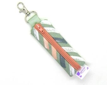 Mini Zipper Pouch / Lipstick Holder / Chapstick Holder / Lip Balm Holder / Earbud Case - Sage and Blush Painted V