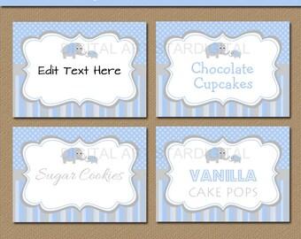 Elephant Buffet Labels - Blue & Grey Elephant Buffet Cards - Elephant Baby Shower Candy Buffet Labels - EDITABLE Food Labels