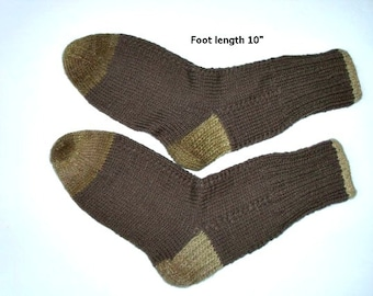 "Wool socks hand knit.  Foot length  10"". Length from cuff to heel 11"". Wool and acrylic.  Boot socks. Slipper socks. Ready to ship."