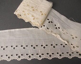 Antique lace trim eyelet cotton Victorian era