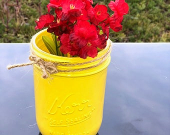 Spray painted mason jar
