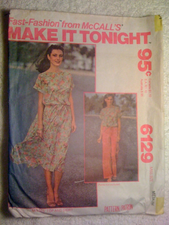 Misses Top And Skirt McCalls Sewing Pattern 6129 70s Size 14-16