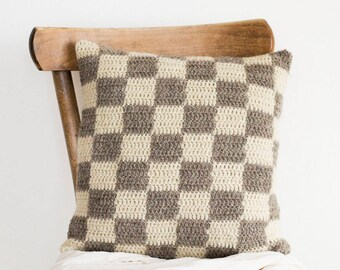 Check Pillow Cover in Beige and White, Checkerboard Cushion, Chess Board Pattern, 16 x 16 Crochet Wool Cushion Cover, Checkered Home Decor