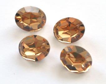 Light Colorado Topaz Swarovski 10x8mm Oval Shape 4100/4128 Fancy Stones 4 Pieces