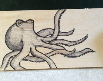 Octopus- Wood drawing