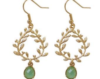 Mint Gold Leaf Wreath Dangle Earrings