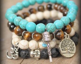 4 Elastic Yoga beaded stackable stretch bracelet Free people style Spirtual Hindu Ethnic Bohemian Om buddha Tree of life Prayer wheel charms