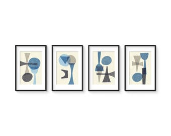OFFSET BLUE SET no.2 - Collection of (4) Giclee Prints - Abstract Geometric Mid Century Modern