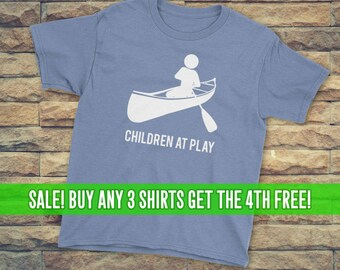 Canoeing T-Shirt, Canoe Shirt, Unisex T-Shirt, Youth Canoeing Shirt, Youth Canoeing T-Shirt, Children at Play, Lots of Colors