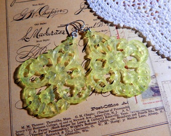 Lemon Yellow Vintage German Lucite Filigree Earrings with Sterling Silver Ear Wires - Boho Floral Filigree Earrings