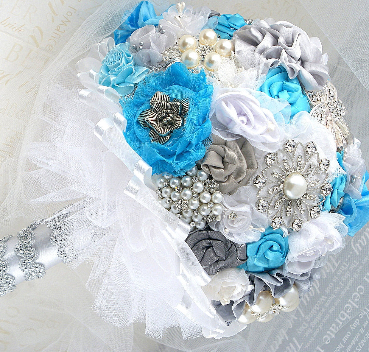 Brooch Bouquet Turquoise Blue White Silver Wedding