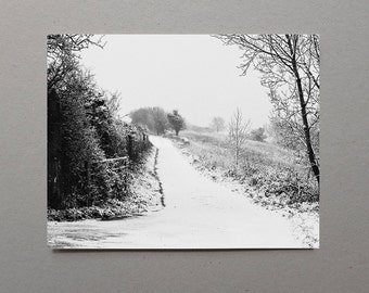 Snowy Path English Countryside Black and White Photography Nature Photography Cottage Wall Decor Rustic Winter Decor Christmas Gift Art
