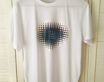 White Tee with Blue Agate Print