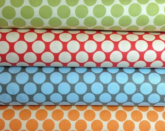 Quilter's Half Yard Set of Amy Butler Full Moon Dots in Cherry, Slate, Lime and Tangerine
