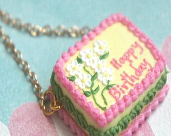Birthday Cake Necklace- food jewelry, miniature food, celebration jewelry