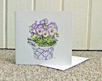 Blue and White Birthday Card, Violas Floral Art Vintage Style Card, Spring Floral Card,  Anniversary Card, Thank you notelet