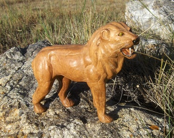 Vintage Hand-crafted Leather Lion Sculpture / King of the Beasts