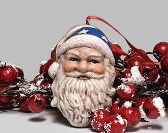 Patriotic Good Ole Santa Claus Ceramic Christmas Ornament
