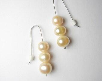 Pearl earrings, pearl drop earrings, pearl jewelry, gemstone earrings, sterling silver earrings, quartz earrings, crystal drop earrings