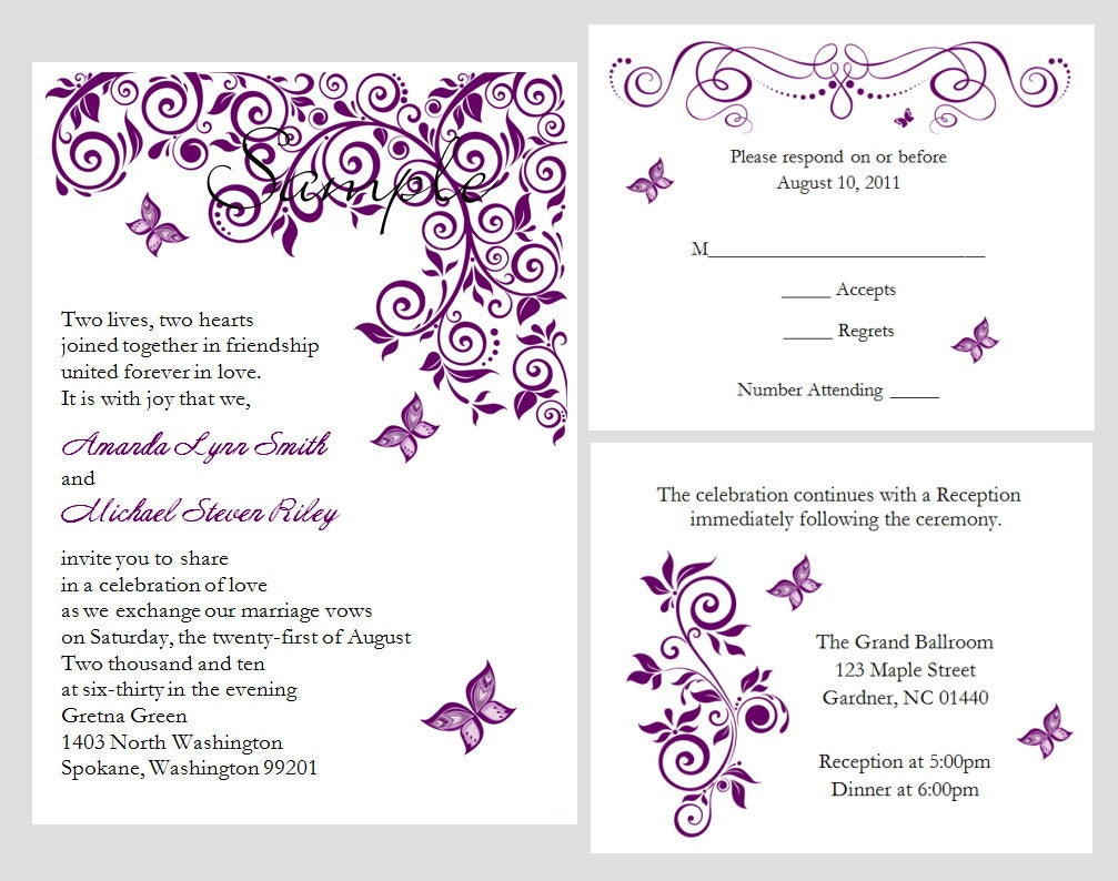 Free Personalized Wedding Invitations: 100 Personalized Custom Purple Butterfly Bridal Wedding
