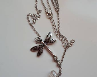 Dragonfly butterfly antique silver necklace