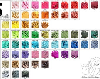 100 Mix and Match 5 Inch YKK Zippers Choose your own colors cherry cranberry bright orange green yellow black white vanilla  bubble gum pink