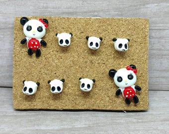 Panda bear push pin set Animal thumbtacks animal pushpins message board pins bulletin board pins panda bear gifts panda gift for her