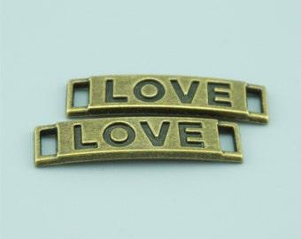 30pcs 29x7mm Antique Bronze Love Charm Pendants,Love Connectors,Letter Charms Pendants Connectors Z6753